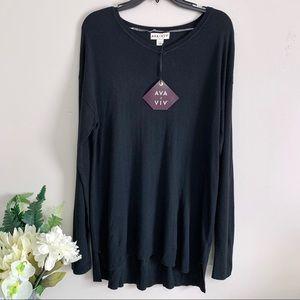 Ava & Viv Plus Size Black Long Sleeve Pullover